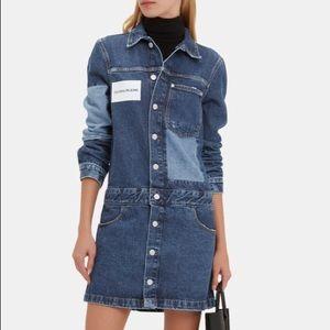 Calvin Klein Patchwork Logo Trucker Dress